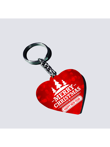 Merry Christmas Designer Heart Shaped Keychain-HEARTKC0005A