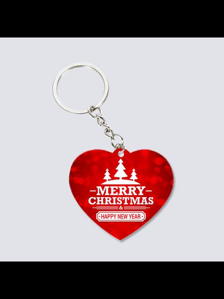 Merry Christmas Designer Heart Shaped Keychain-3