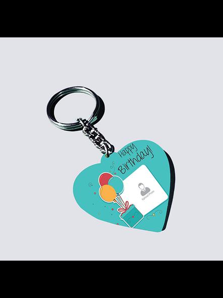 Happy Birthday Elegent Personalized Heart Shaped keychain-HEARTKC0008A