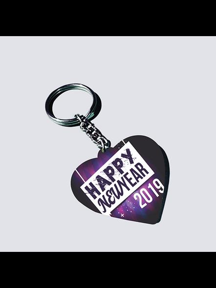Happy New Year 2021 Heart Shaped Keychain-HEARTKC0009A