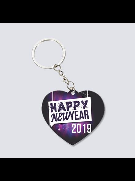 Happy New Year 2021 Heart Shaped Keychain-3