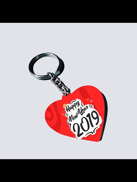 Happy New Year 2021 Designer Heart Shaped Keychain-HEARTKC0010A