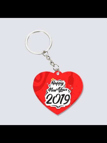 Happy New Year 2021 Designer Heart Shaped Keychain-3