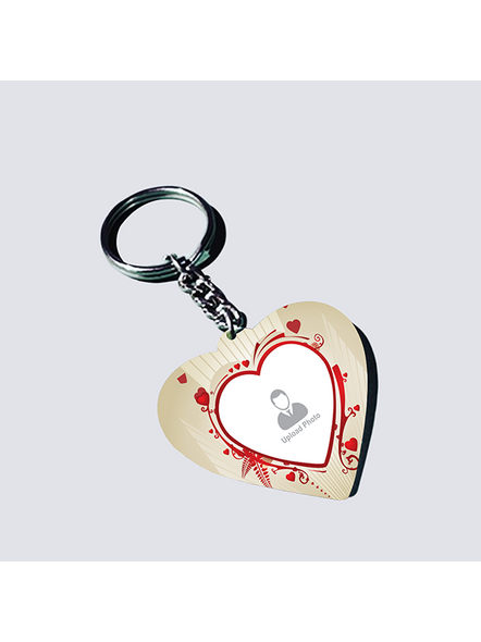 Designer Hearts Personalized Shaped Keychain-1