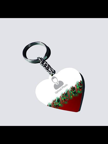 Christmas Upload Photo Heart Shape keychain-HEARTKC0014A