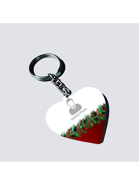Christmas Upload Photo Heart Shape keychain-1