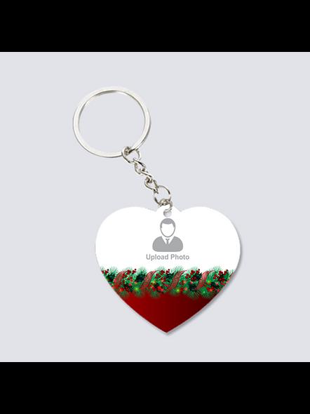 Christmas Upload Photo Heart Shape keychain-3