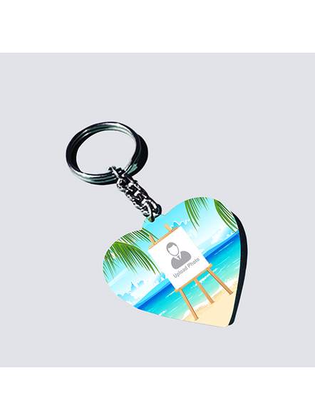 beach Background Standy Personalized Heart keychain-HEARTKC0015A