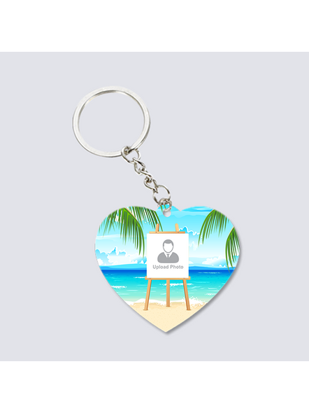 beach Background Standy Personalized Heart keychain-3