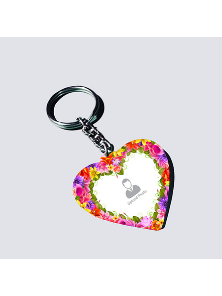 Flowral Boundry Personalized Heart Keychain-HEARTKC0016A