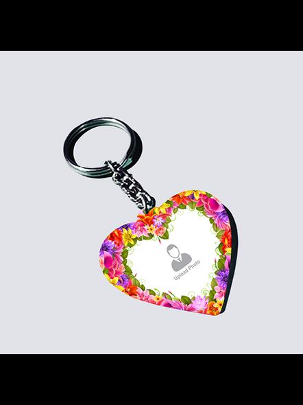 Flowral Boundry Personalized Heart Keychain-1
