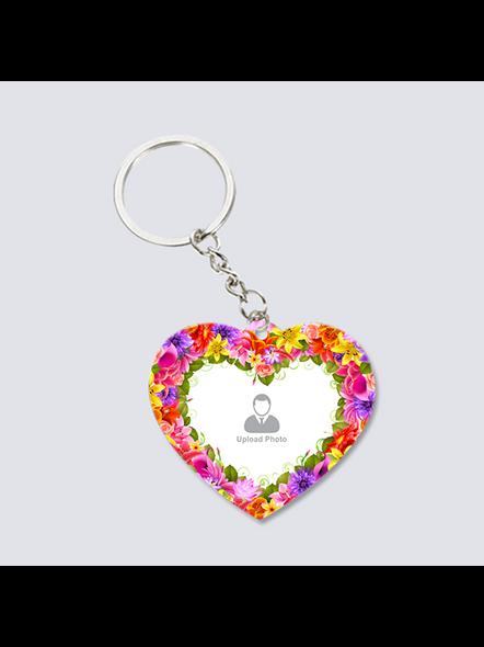 Flowral Boundry Personalized Heart Keychain-2