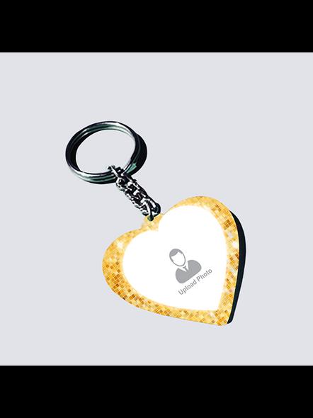 Golden Glitter Shining Personalized Heart Shaped Keychain-1