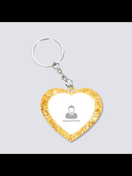 Golden Glitter Shining Personalized Heart Shaped Keychain-2