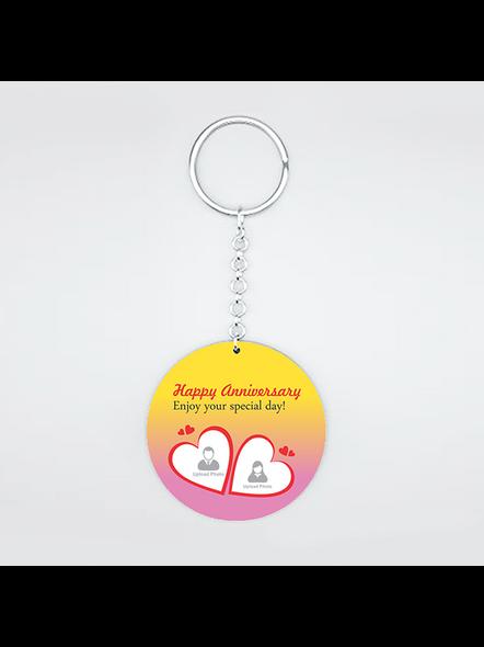 Happy Anniversary Personalized Round Shape Keychain-1