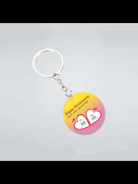 Happy Anniversary Personalized Round Shape Keychain-3