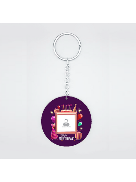 Happy Birthday Candles Personalized Round Shape keychain-CIRCLEKC0002A