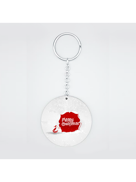Merry Christmas Senta Moving Printed Round Shape keychain-CIRCLEKC0004A