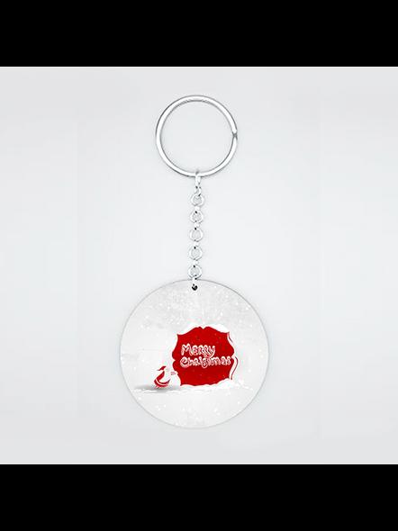Merry Christmas Senta Moving Printed Round Shape keychain-1