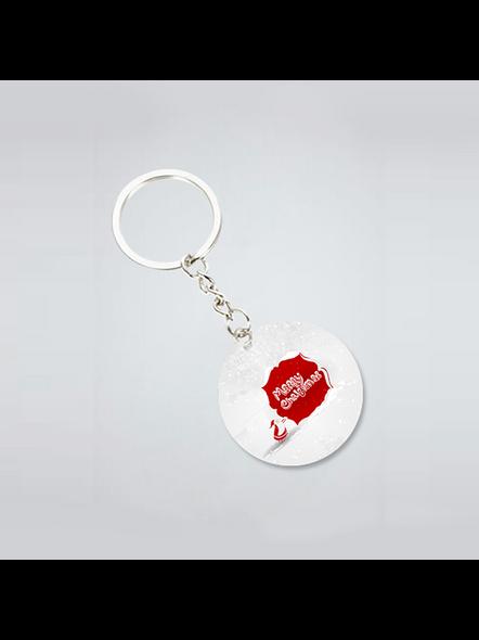 Merry Christmas Senta Moving Printed Round Shape keychain-3