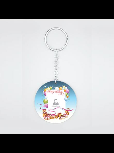Happy Birthday Baloons Personalized Round Shape Keychain-1