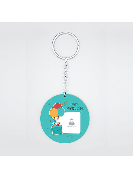Happy Birthday Gifts baloons Customised Round Shape Keychain-CIRCLEKC0008A
