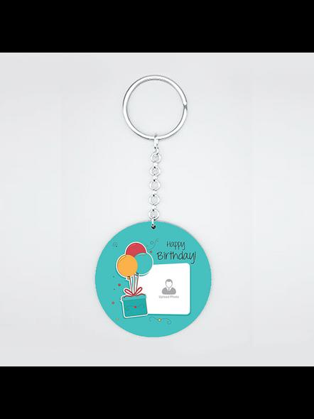 Happy Birthday Gifts baloons Customised Round Shape Keychain-1