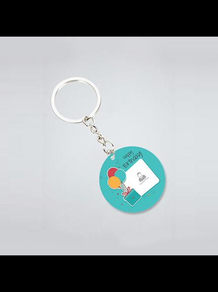 Happy Birthday Gifts baloons Customised Round Shape Keychain-3