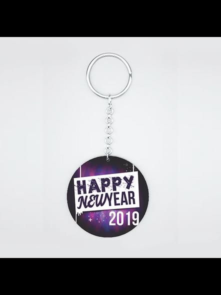 Happy New Year 2020 Round Shape keychain-1