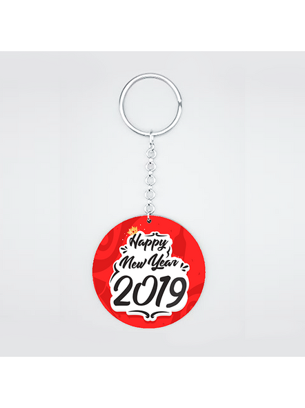 Happy New Year Red Round Shape Keychain-CIRCLEKC0010A