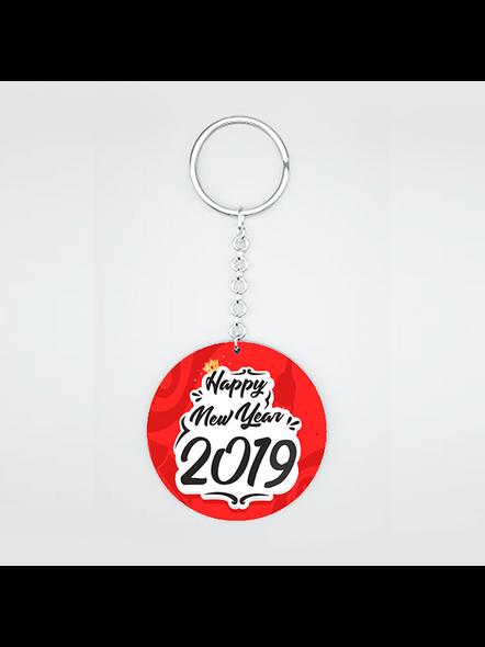 Happy New Year Red Round Shape Keychain-1