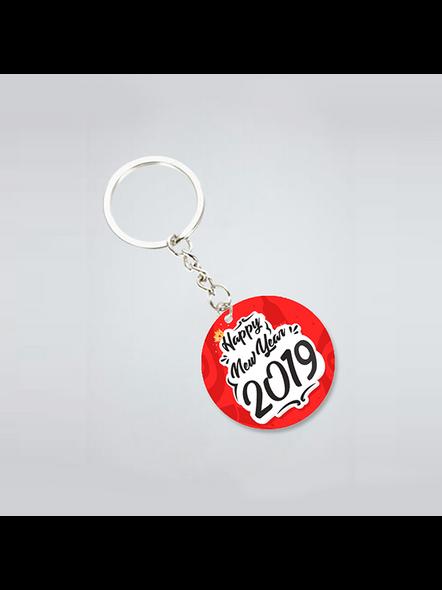 Happy New Year Red Round Shape Keychain-2