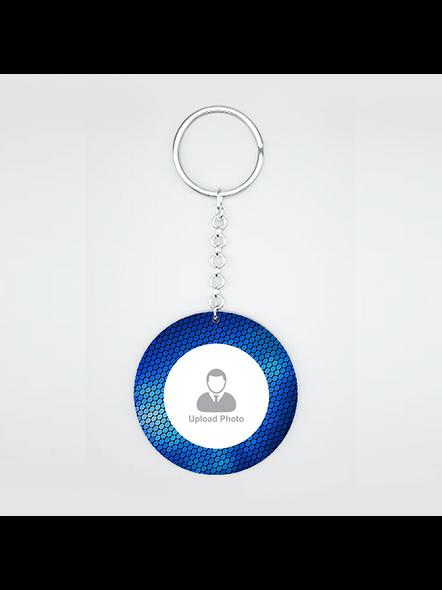 Blue Elegent Personalized Round Keychain-CIRCLEKC0011A