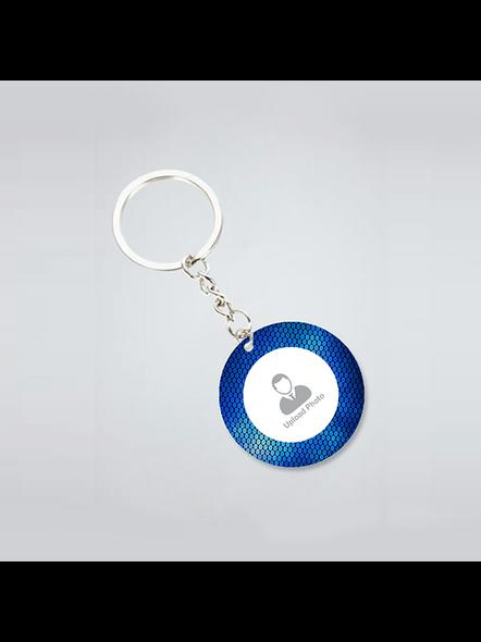 Blue Elegent Personalized Round Keychain-2
