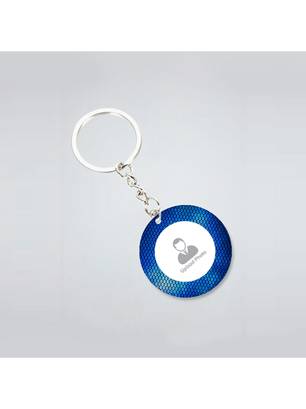 Blue Elegent Personalized Round Keychain-3