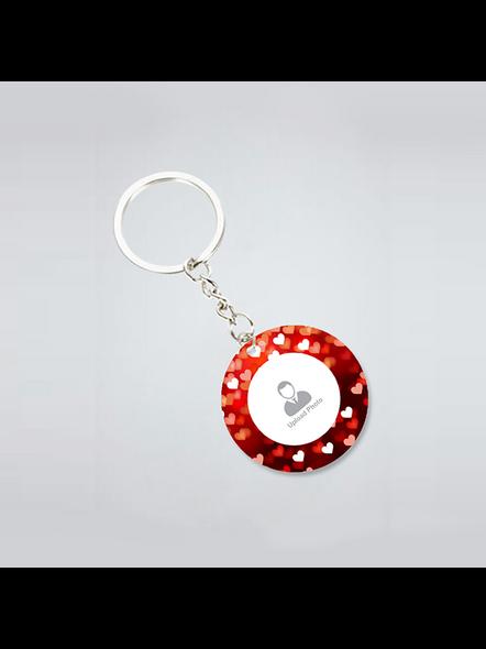 Blurry Hearts Customised Round Shape Keychain-1