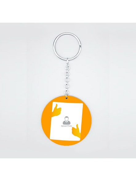 Thumbs Up Personalized Round Shape Keychain-CIRCLEKC0018A