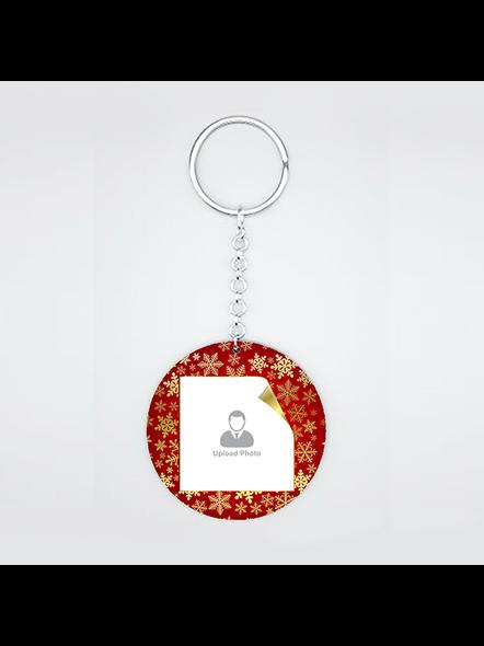 Golden Designer Personalized Round Shape Keychain-CIRCLEKC0019A
