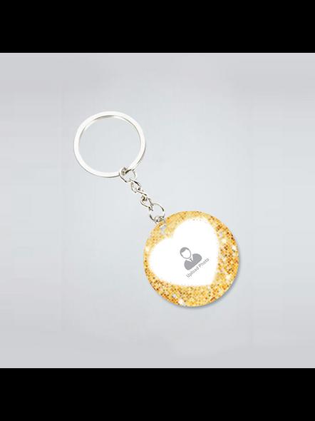 Golden Glitter Personalized Round Shape Keychain-1