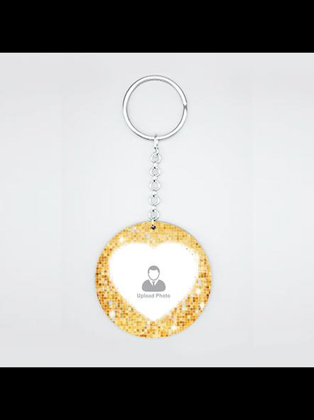 Golden Glitter Personalized Round Shape Keychain-2