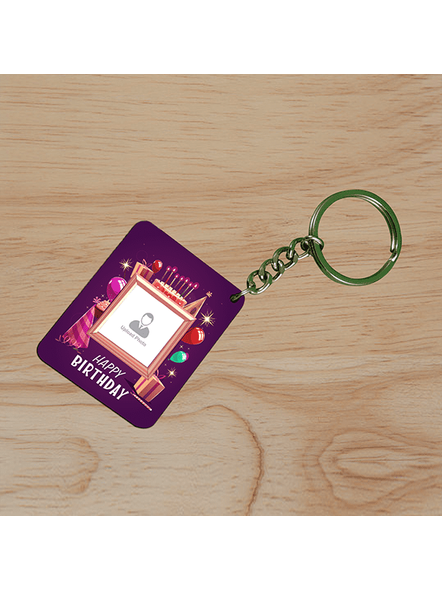 Happy Birthday Candles Personalized Small Rectangle Shape keychain-SSRECTC0002A