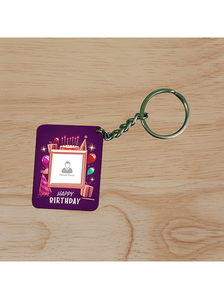 Happy Birthday Candles Personalized Small Rectangle Shape keychain-3