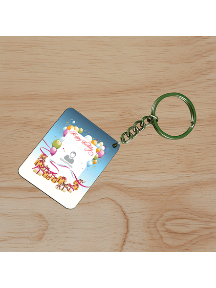 Happy Birthday Baloons Personalized Small Rectangle Shape Keychain-SSRECTC0007A