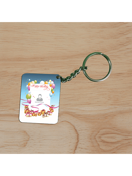 Happy Birthday Baloons Personalized Small Rectangle Shape Keychain-2
