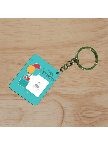 Happy Birthday Gifts baloons Customised Small Rectangle Shape Keychain-SSRECTC0008A