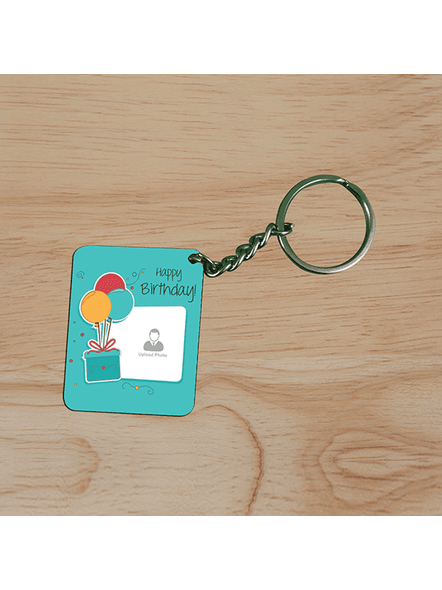 Happy Birthday Gifts baloons Customised Small Rectangle Shape Keychain-2