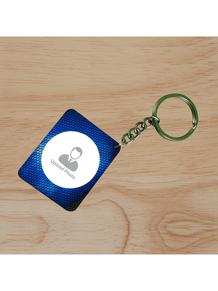 Blue Elegent Personalized Small Rectangle Keychain-SSRECTC0009A