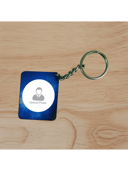 Blue Elegent Personalized Small Rectangle Keychain-3