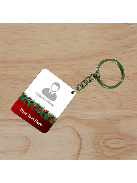 Flower Designer Personalized Small Rectangle Shape Keychain-SSRECTC0011A