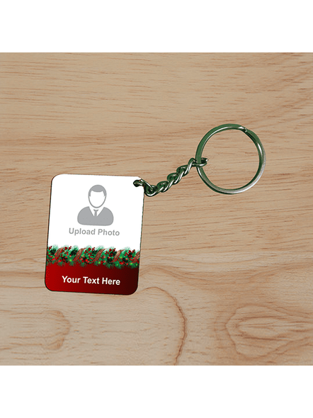 Flower Designer Personalized Small Rectangle Shape Keychain-3